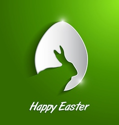 Paper Easter egg with rabbit silhouette vector