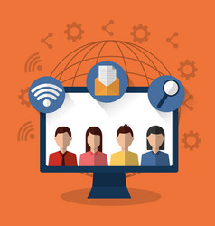 people internet technology device wifi email world vector image
