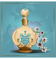 Perfume bottle and lilies vector image