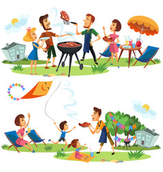 Picnic friends and family nature and holiday set vector
