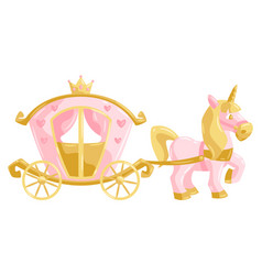 princess unicorn and carriage vector image