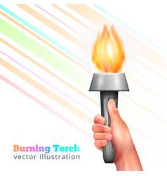 realistic hand torch background vector image