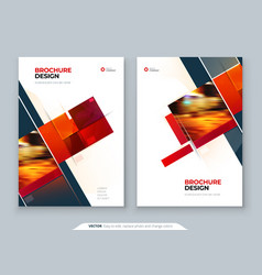 Red brochure cover template layout design vector