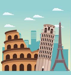 Rome coliseum monument pisa tower and eiffel vector