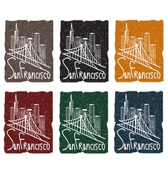 san francisco skyline grunge sticker set vector image