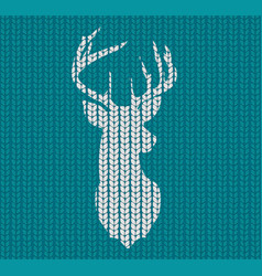 seamless knitted pattern and head deer vector image