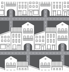 Seamless pattern with houses and streets vector image