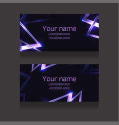 set business cards with abstract neon vector image