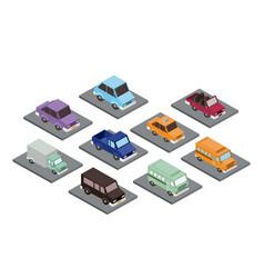 set cars isometrics proy icon vector image