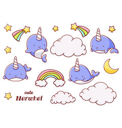 Set cute kawaii hand drawn blue narwhal doodles vector
