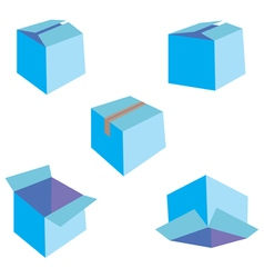 Set of five blue boxes vector