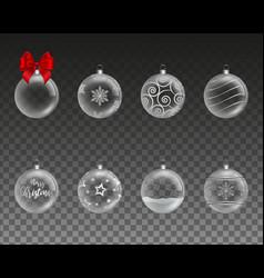 set transparent christmas balls vector image