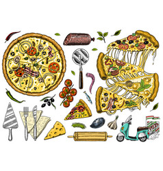 Slice of pizza with cheese yummy italian vector