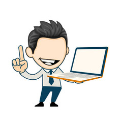 Smiling business man holding laptop computer vector