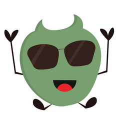 smiling green monster with sunglasses on white vector image