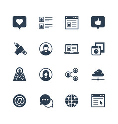 social media and network icon set vector image