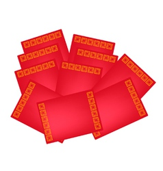 Stack of Red envelopes for Chinese New Year vector image