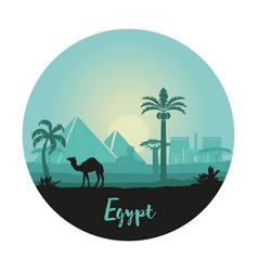 stylized landscape egypt at sunset in form vector image