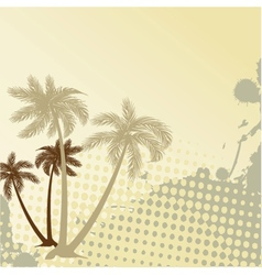Summer background with grunge beach palms vector image