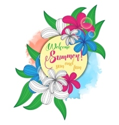 Summer party poster with vintage floral bouquet vector