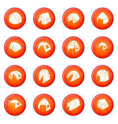 Tent forms icons set red vector