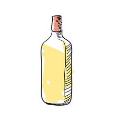 tequila bottle hand drawn icon vector image