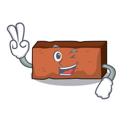 two finger brick character cartoon style vector image