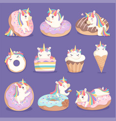 unicorn donuts cute face and characters magic vector image