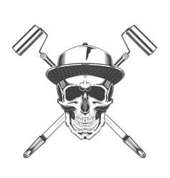 vintage monochrome skull with baseball cap vector image