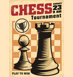 vintage poster template for chess tournament vector image