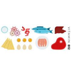 Vitamin b12 foods flat icons set with fish vector