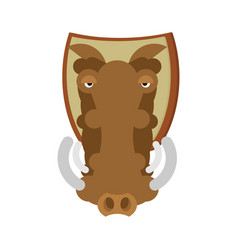 Warthog hunting trophy head wild boar on shield vector
