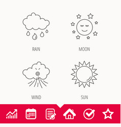 Weather sun and rain icons vector