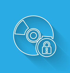 White cd or dvd disk with closed padlock line vector