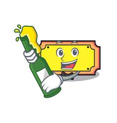 With beer ticket mascot cartoon style vector