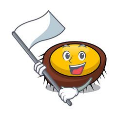 with flag sea urchin mascot cartoon vector image