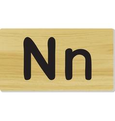 Wooden letter N vector
