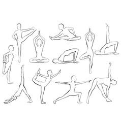 Yaga asana woman doing yoga or pilates exercise vector