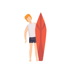 young man standing with surfboard young man vector image