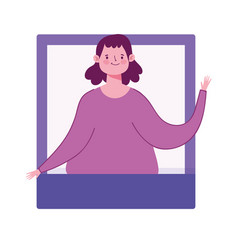 young woman character video call technology vector image