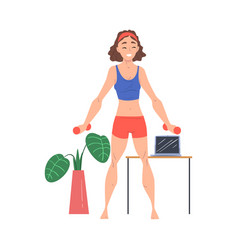 Young woman exercising with dumbbells at home vector