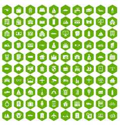 100 property icons hexagon green vector