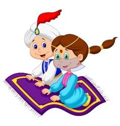 Cartoon Aladdin on a flying carpet traveling vector image