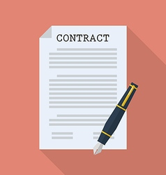 Contract document paper with pen vector image vector image