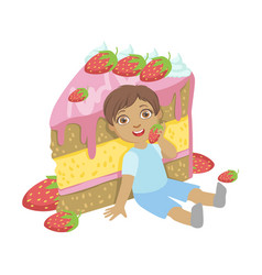 cute little boy sitting near a big strawberry cake vector image vector image