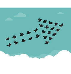 Flock of birds flying in the sky in an arrow vector image vector image