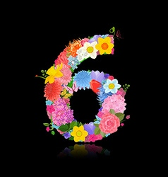 Fun number of fancy flowers on black background 6 vector image