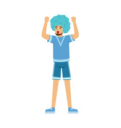 happy bearded football fan character in blue wig vector image vector image