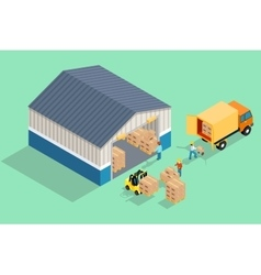 Isometric warehouse Loading and unloading from vector image vector image