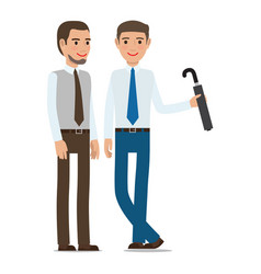 male with beard and gentleman with umbrella vector image